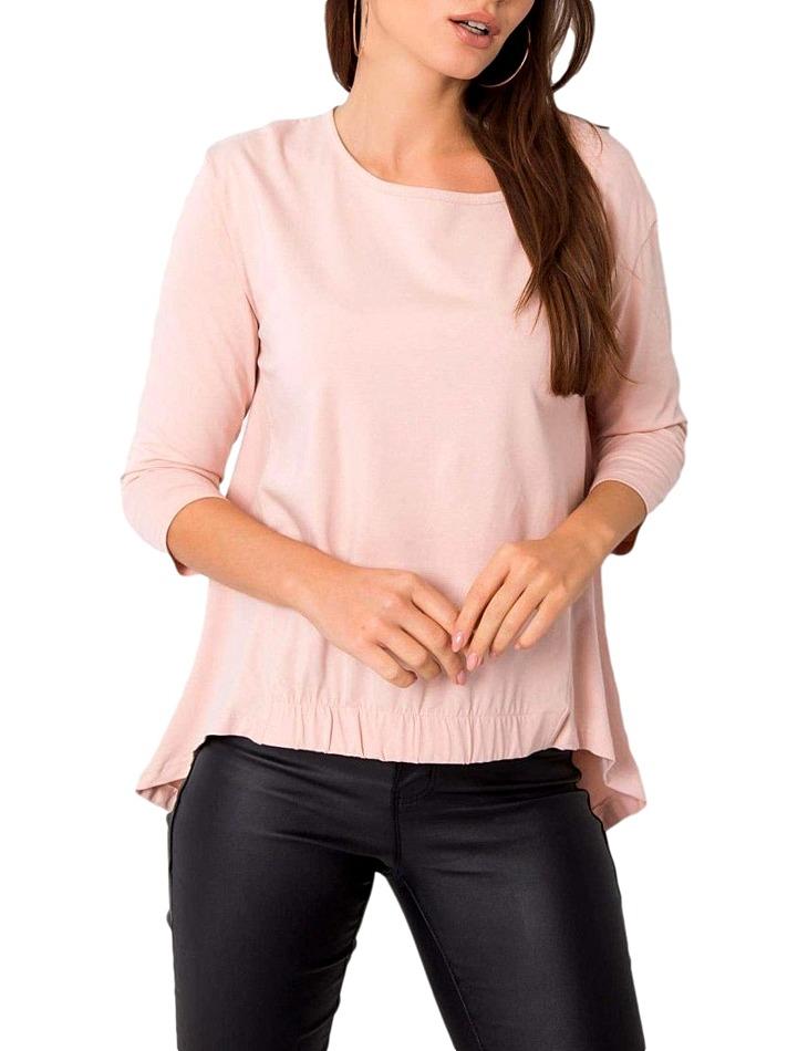 Dámske hmlovo ružové tričko s predĺženými chrbtom vel. M