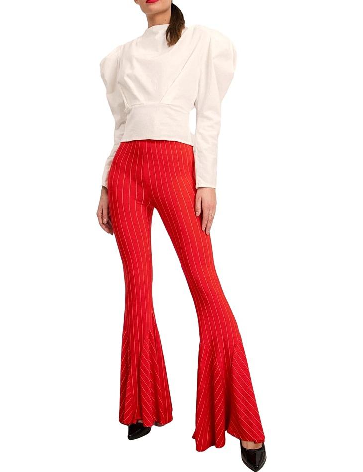 červené dámske zvonové nohavice vel. S