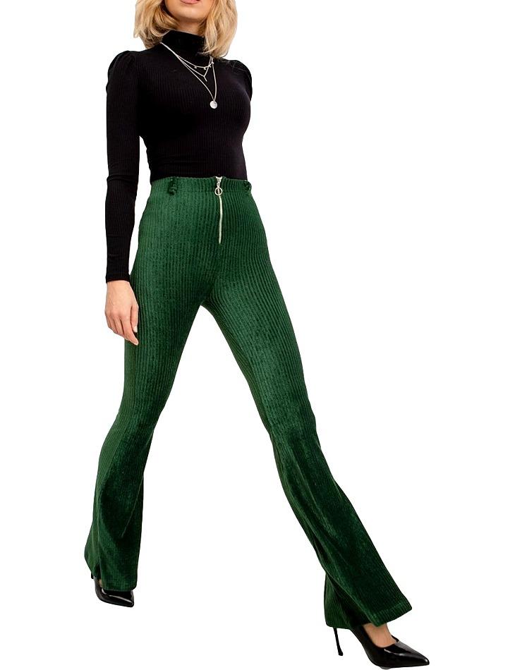 Dámske tmavo zelené nohavice do zvonu vel. L