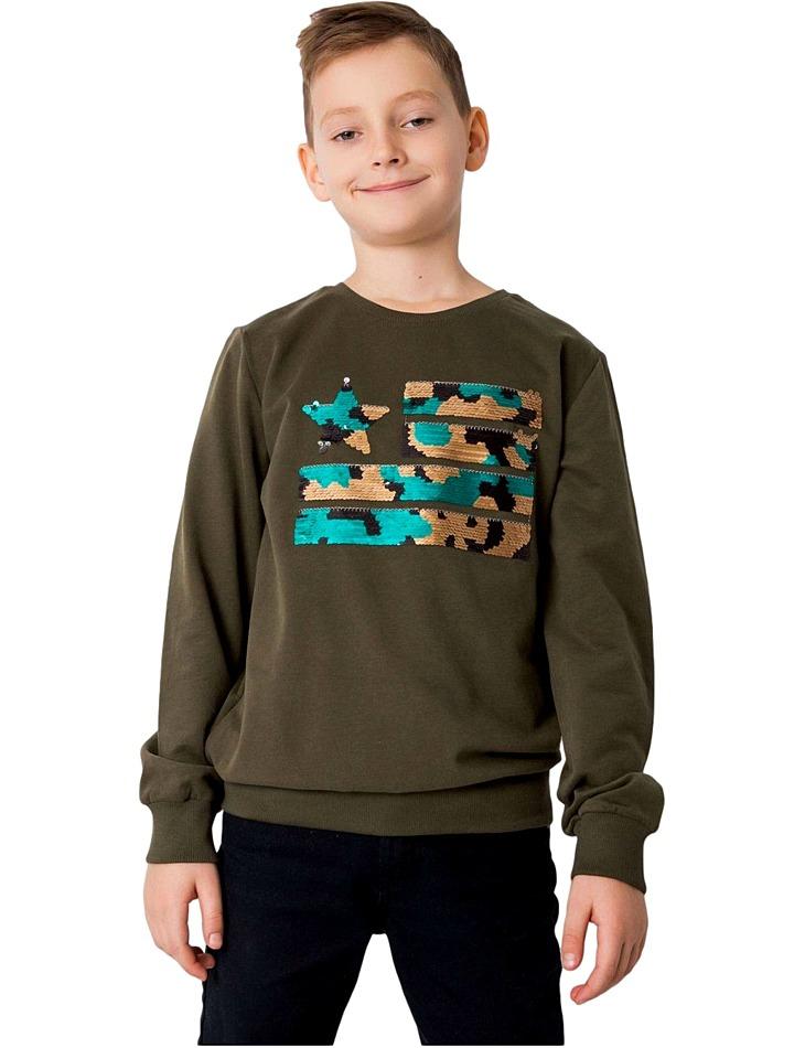 Khaki chlapčenská mikina s flitrami vel. 128
