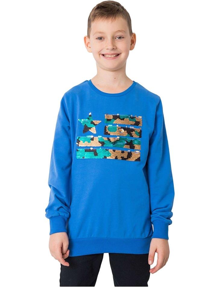 Modrá chlapčenská mikina s flitrami vel. 128