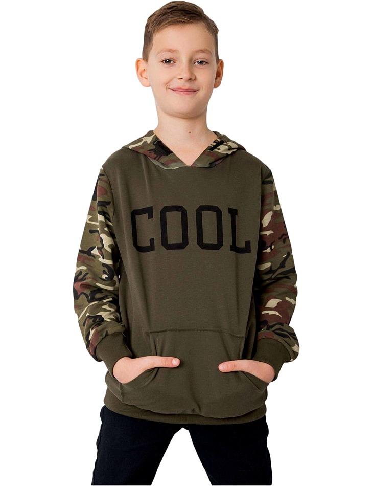 Khaki chlapčenská mikina s nápisom cool vel. 152