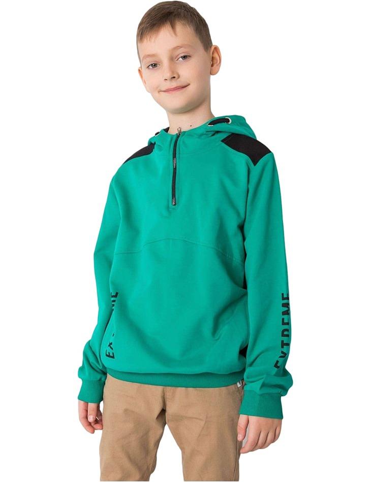 Zelená chlapčenská mikina s kapucňou vel. 128