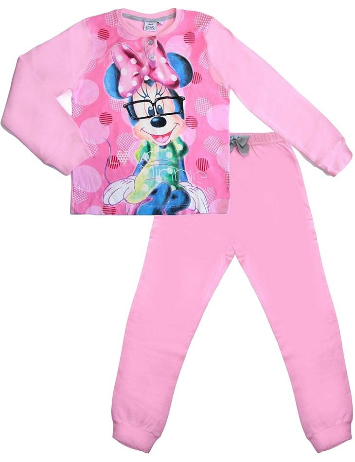 Dievčenské svetloružové dlhé pyžamo s minnie vel. 128