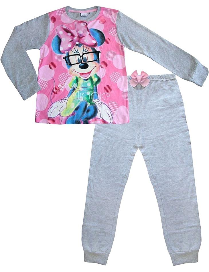 Dievčenské sivé dlhé pyžamo s minnie vel. 128