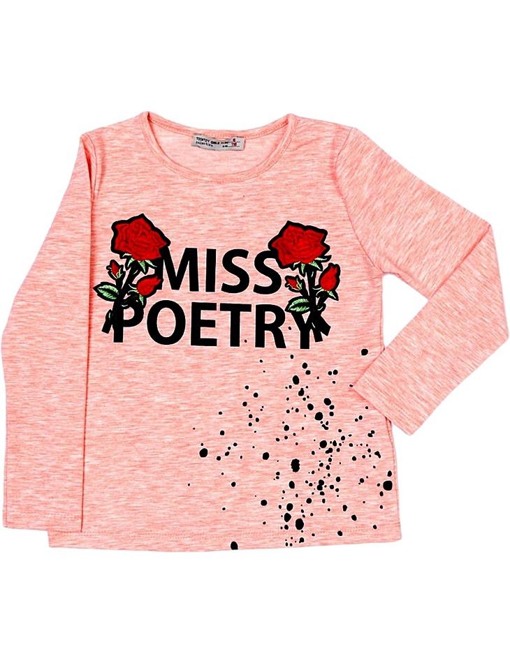 Ružové dievčenské tričko roses vel. 116