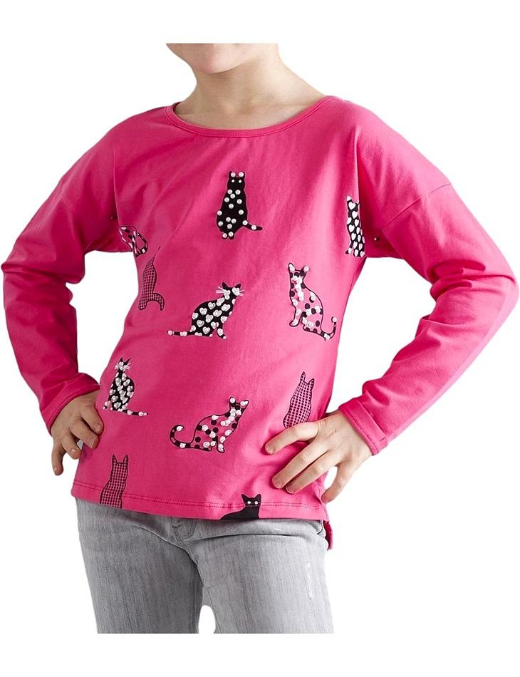 Ružové dievčenské tričko cats vel. 164