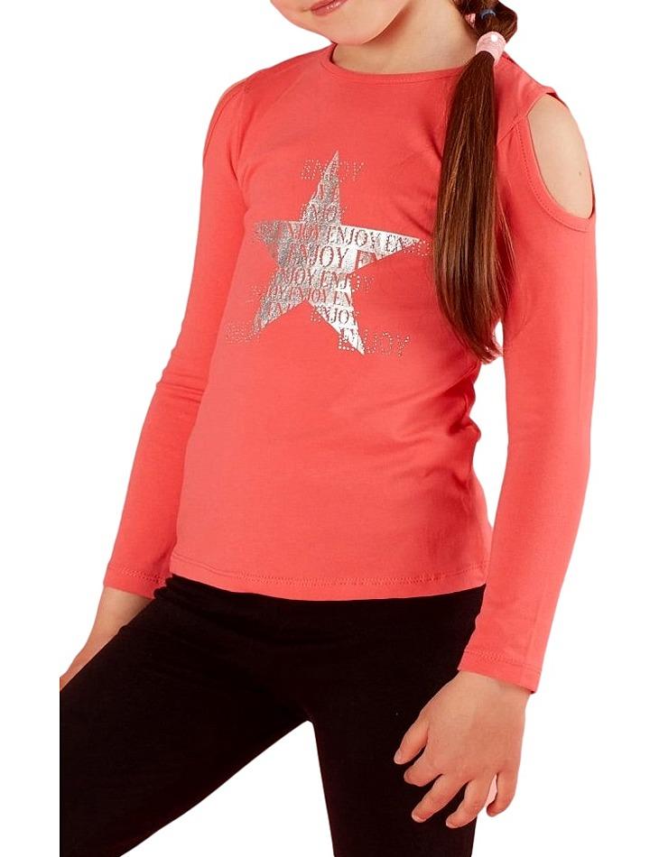 Tmavo-ružové dievčenské tričko star vel. 116