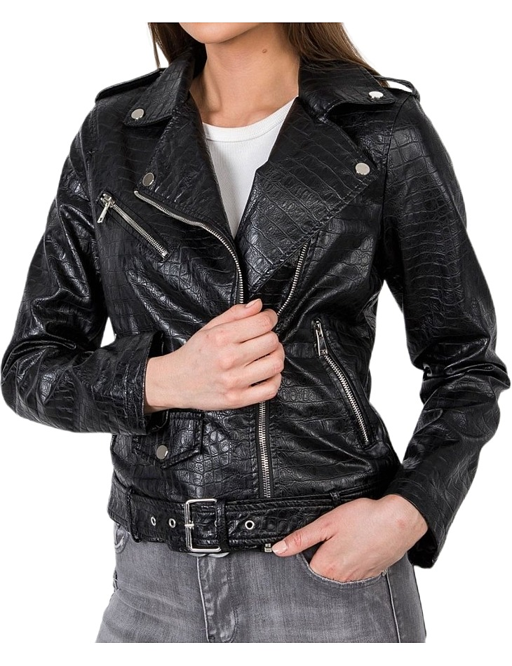 Dámska čierna koženková bunda vel. 2XL