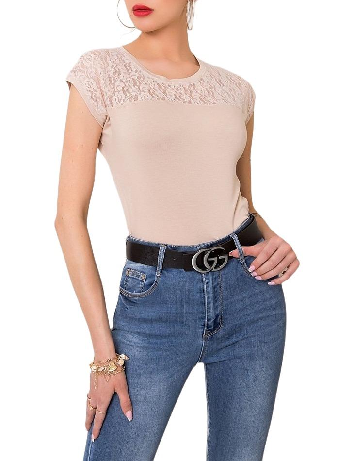 Béžové dámske tričko s čipkou vel. S
