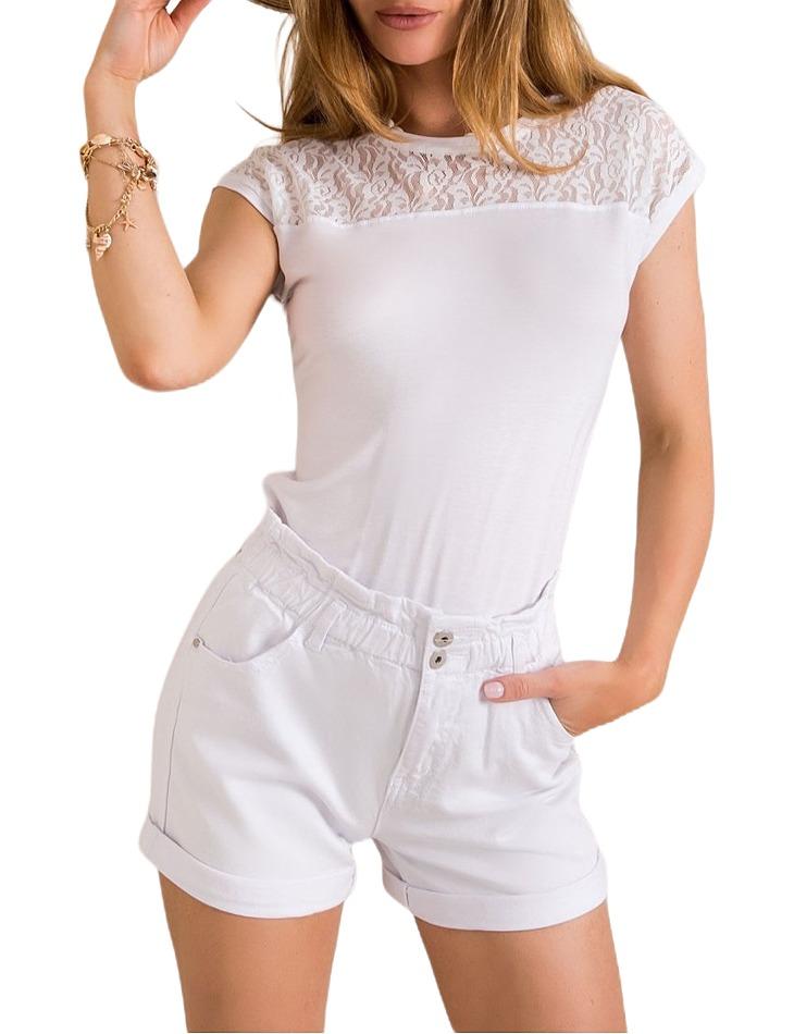 Biele dámske tričko s čipkou vel. S