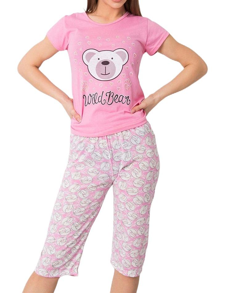 Ružové dámske pyžamo s potlačou medvedíka vel. XL