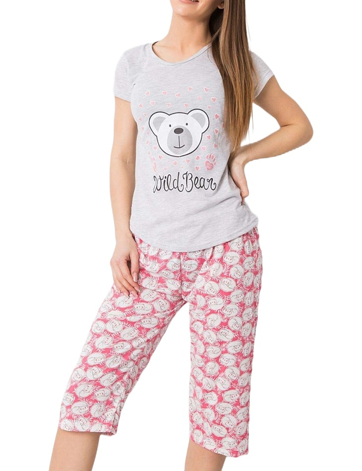 šedo-ružové dámske pyžamo s potlačou medvedíka vel. XL