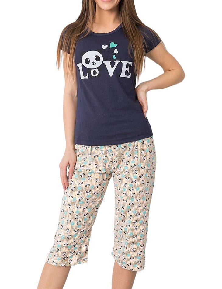 Tmavo modré dámske pyžamo s pandou vel. 2XL