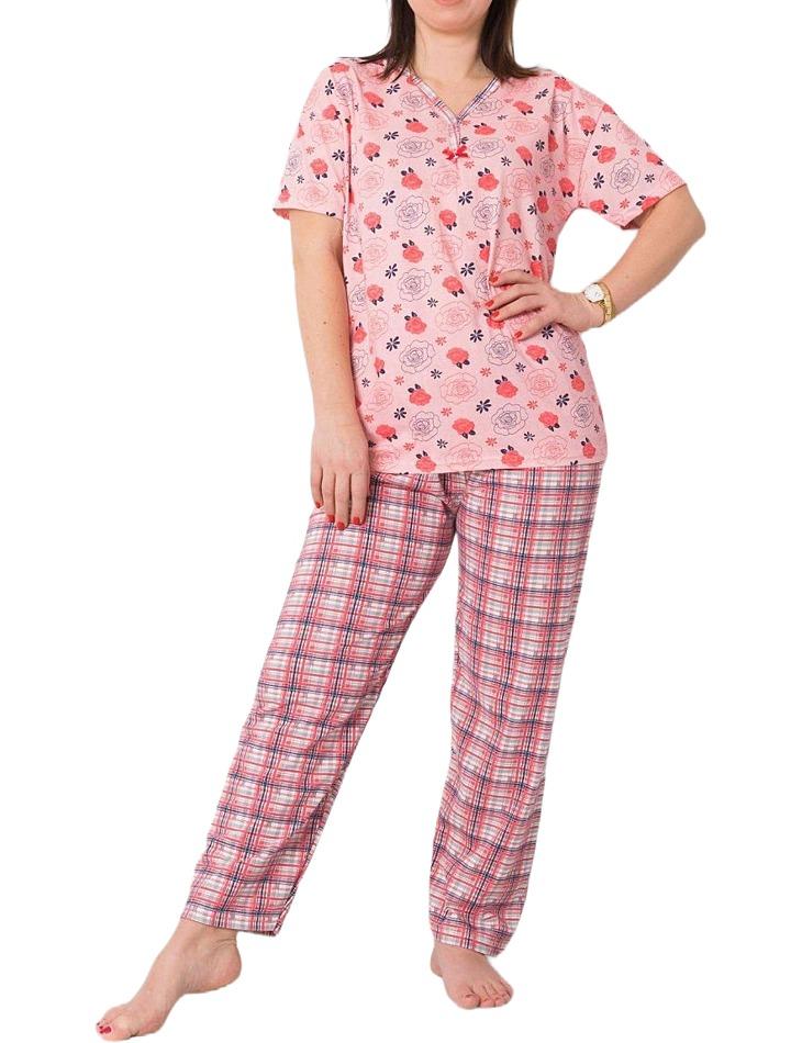 Ružové dámske pyžamo s kvetinami vel. XL