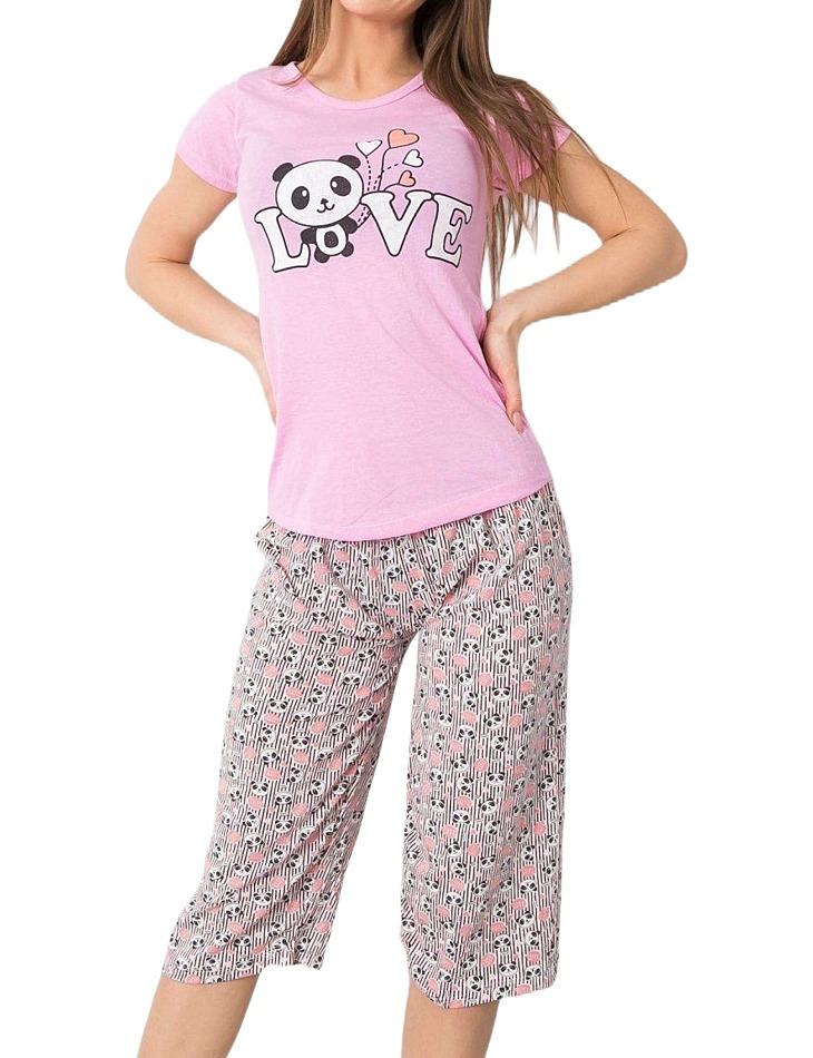 Ružové dámske pyžamo s pandou vel. XL
