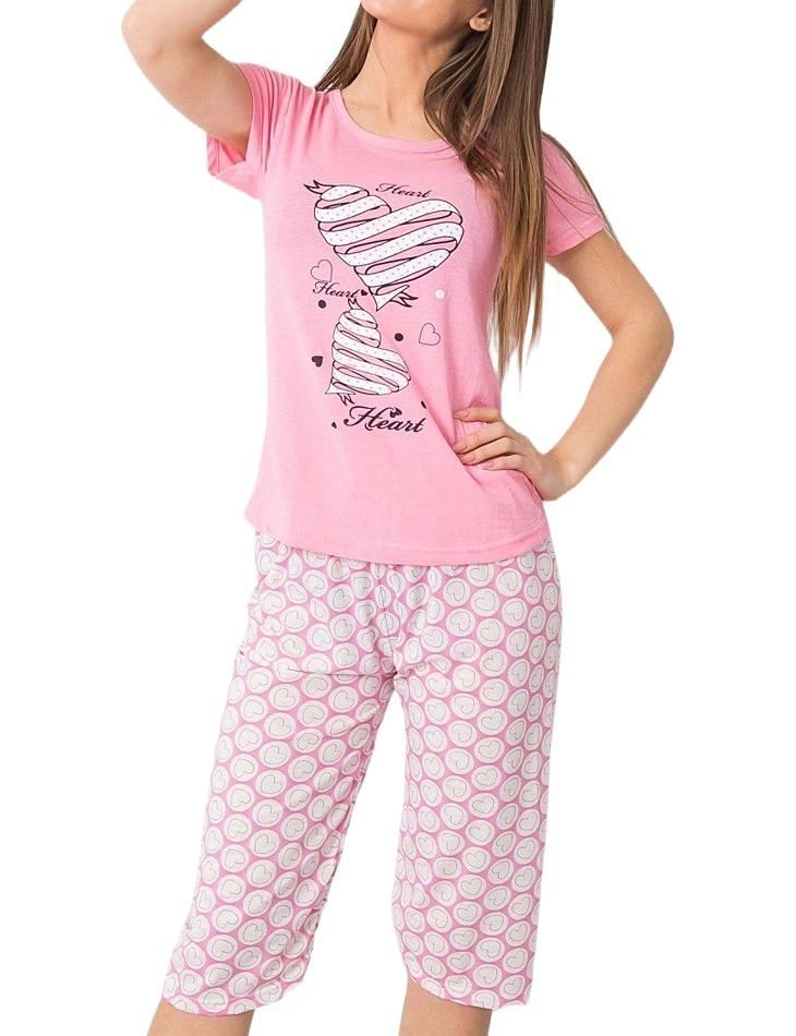 Ružové dámske pyžamo so srdiečkami vel. 2XL
