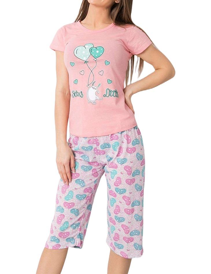 Ružové dámske pyžamo s motívom balónikov vel. XL