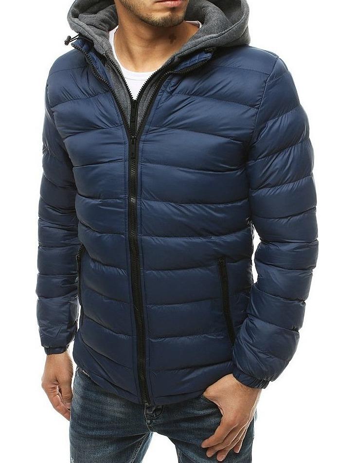 Pánska tmavo modrá prešívaná bunda s kapucňou vel. L
