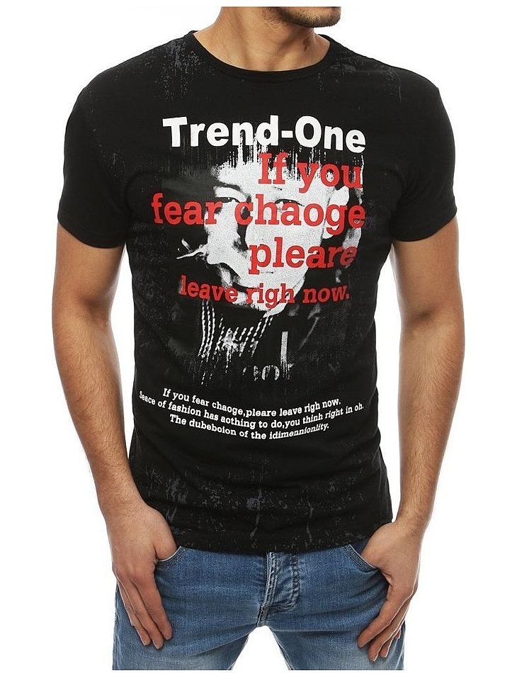 Pánske tričko s potlačou vpredu čierna vel. S