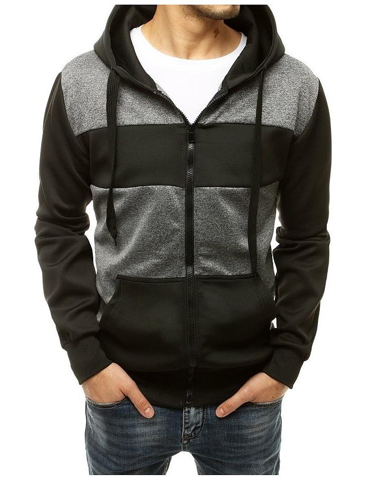 šedo-čierna pánska mikina na zips vel. M