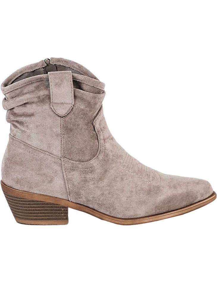 Béžové semišové členkové topánky na podpätku vel. 37