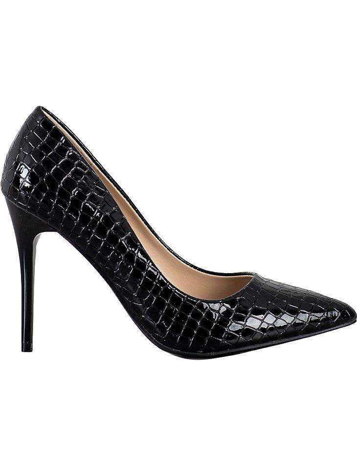 čierne elegantné lodičky s imitáciou krokodílej kože vel. 37