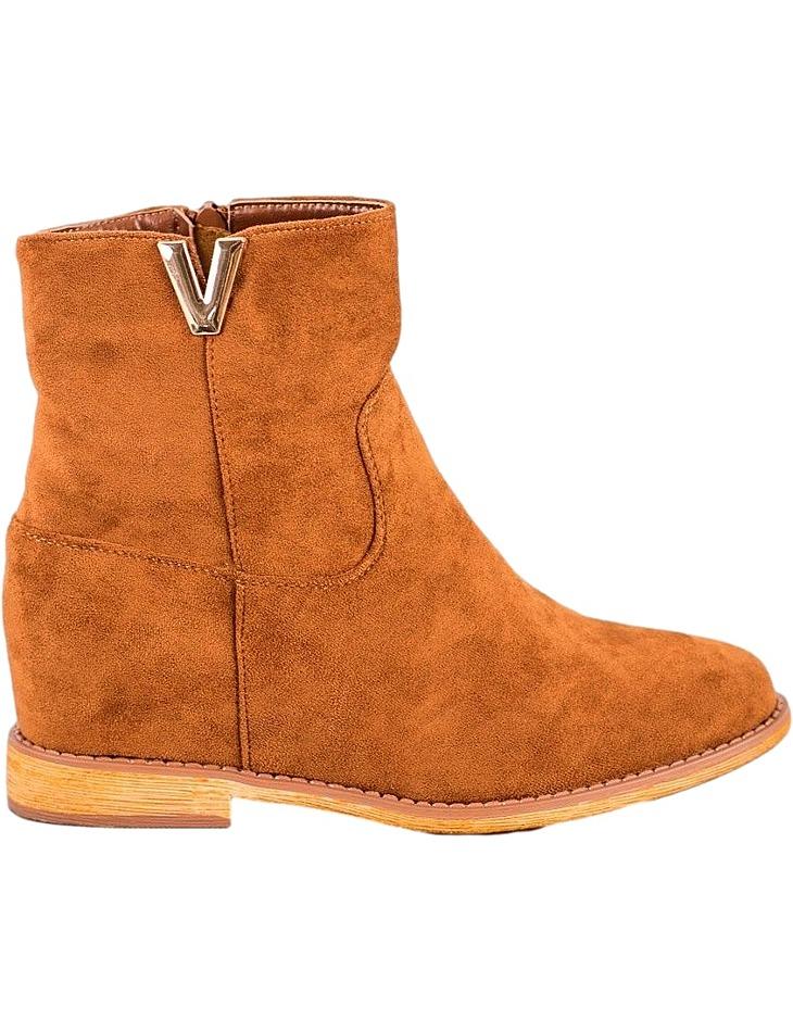 Hnedé členkové topánky na kline vel. 41