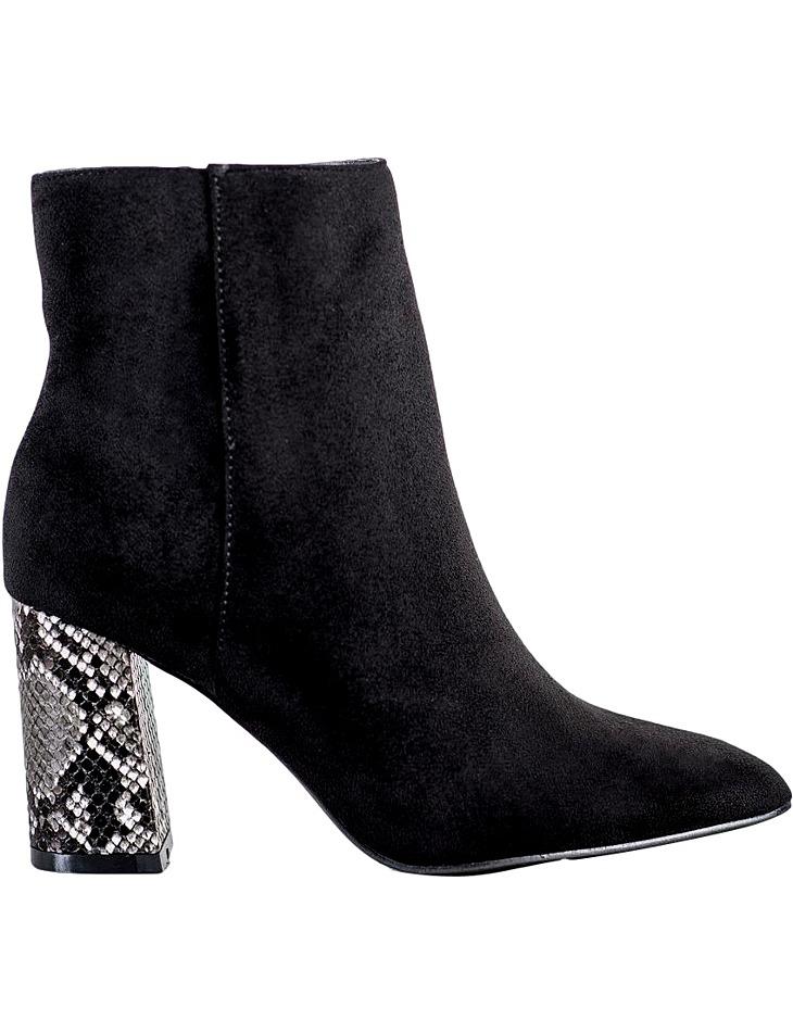 Dámske čierne členkové topánky na podpätku vel. 37