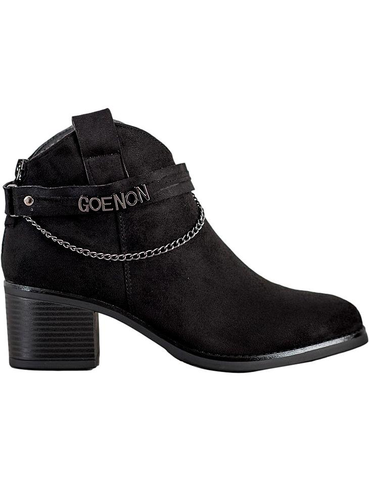 Dámske čierne členkové topánky na podpätku vel. 36