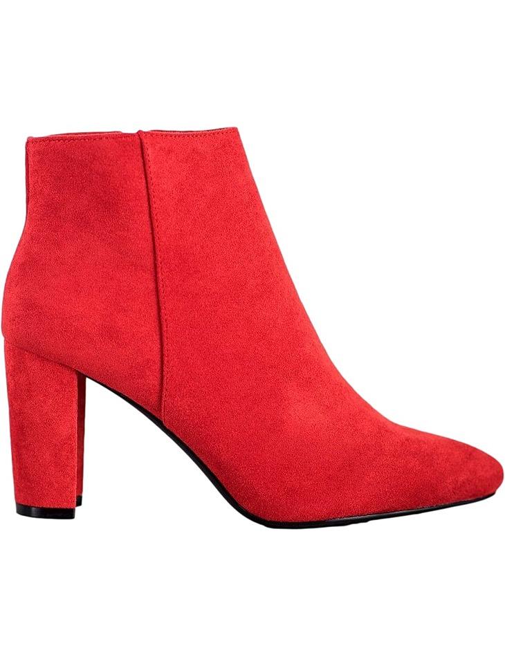 červené semišové členkové topánky na podpätku vel. 37