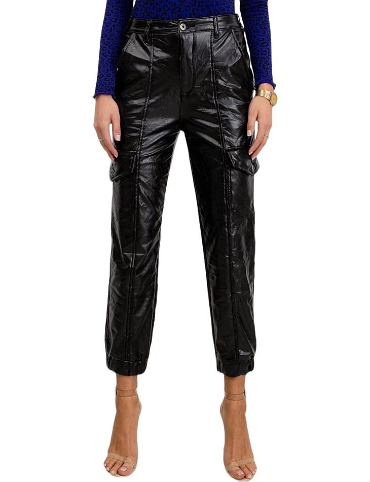 Dámske čierne koženkové nohavice vel. 36