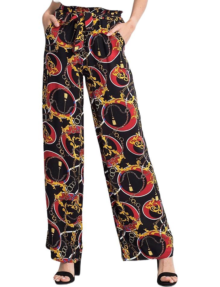 Dámske čierno-červené vzorované nohavice vel. S