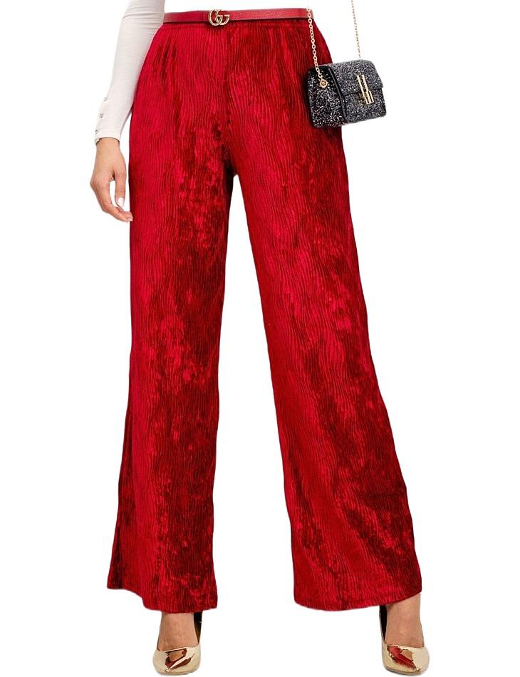 Tmavo-červené dámske lesklé nohavice vel. S