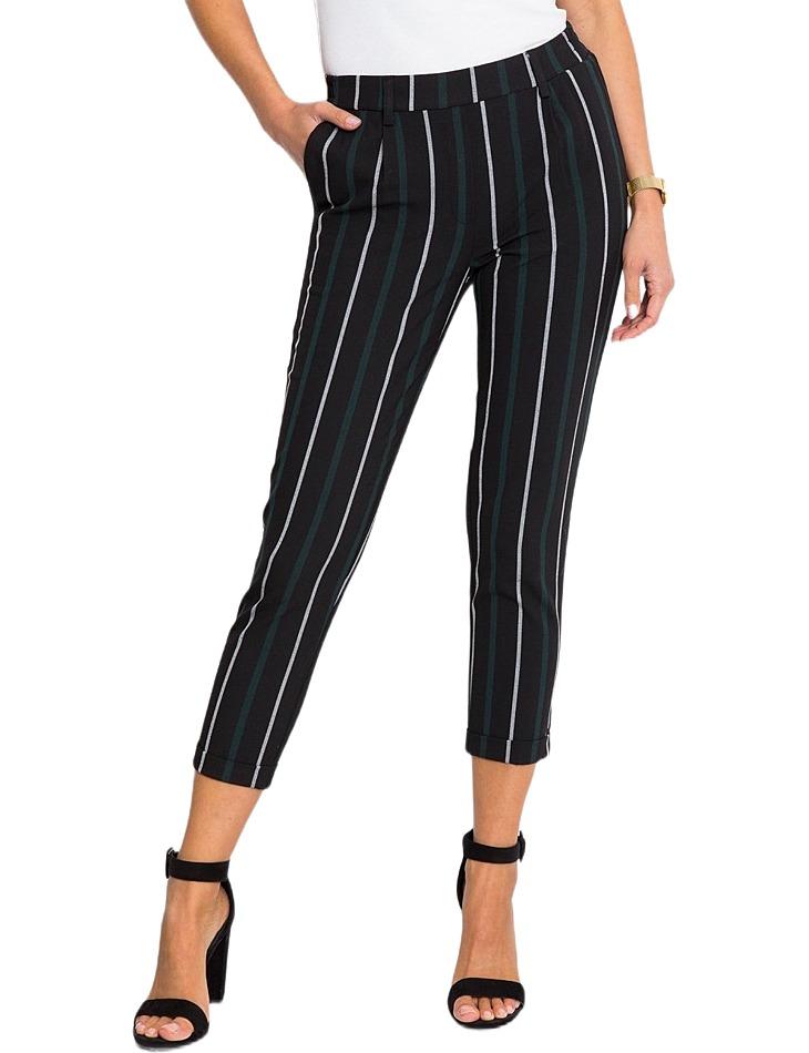 čierne dámske nohavice s bielo-šedým prúžkom vel. 42