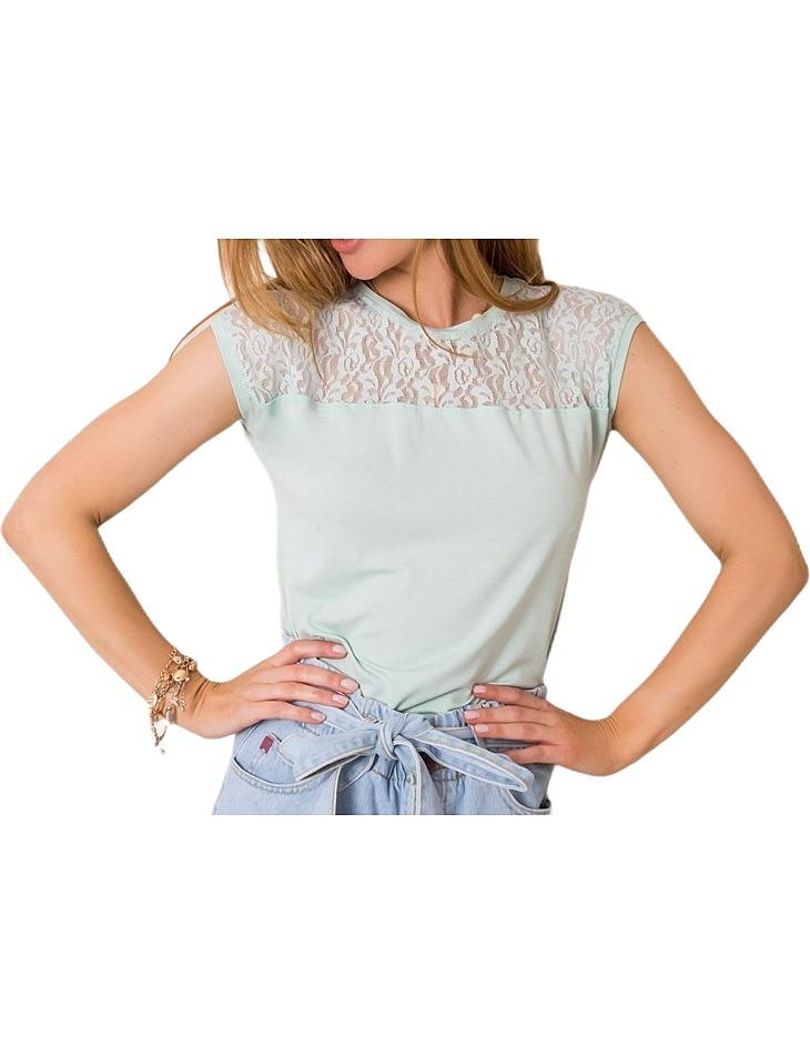 Mintovou dámske tričko s čipkou vel. S