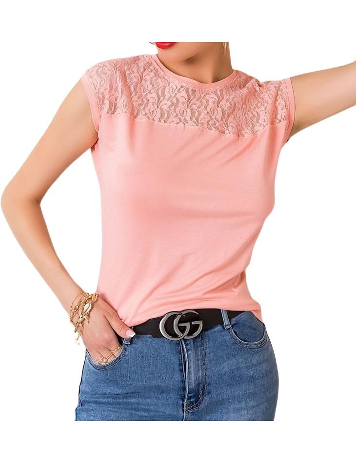 Ružové dámske tričko s čipkou vel. S