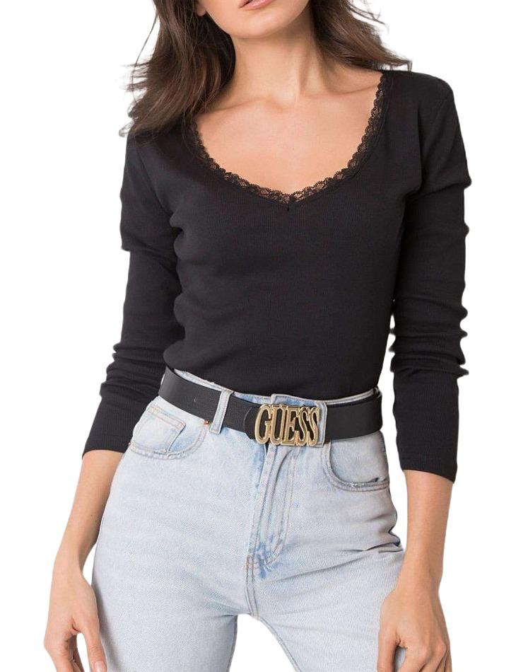 čierne dámske tričko s čipkou vo výstrihu vel. S