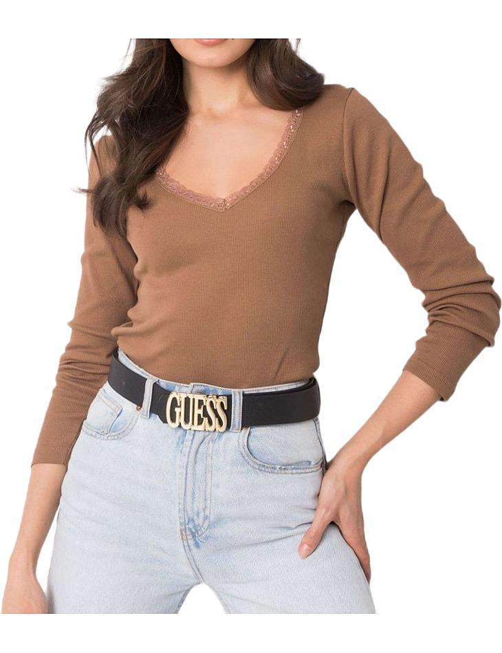 Hnedé dámske tričko s čipkou vo výstrihu vel. S