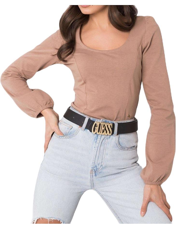 Svetlo hnedé dámske tričko s dlhým rukávom vel. S
