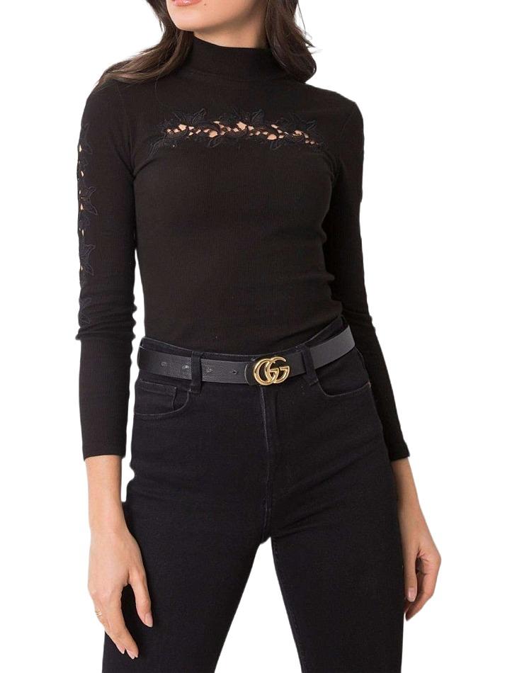 čierne dámske tričko s čipkou vel. L