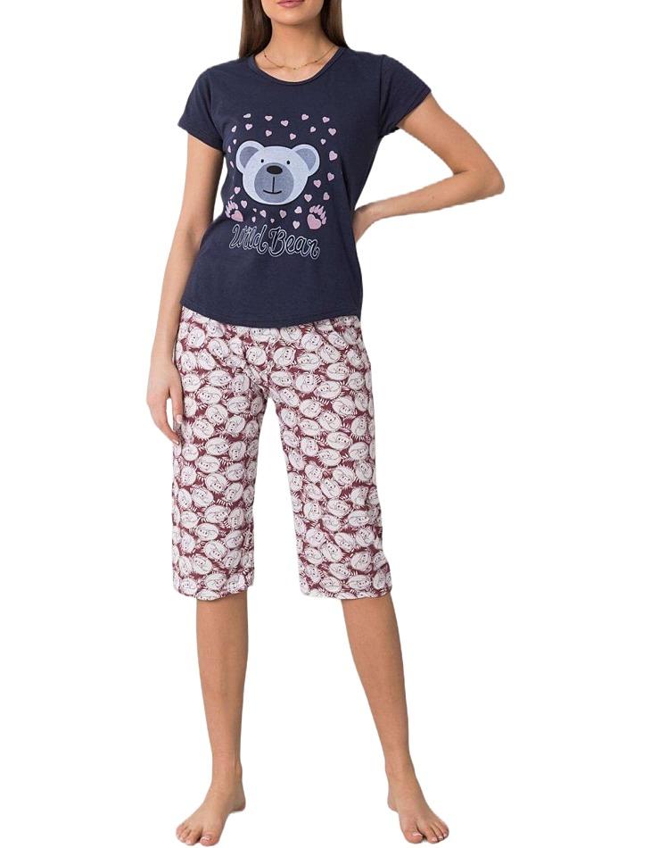 Tmavo modré dámske pyžamo s medvedíkom vel. XL