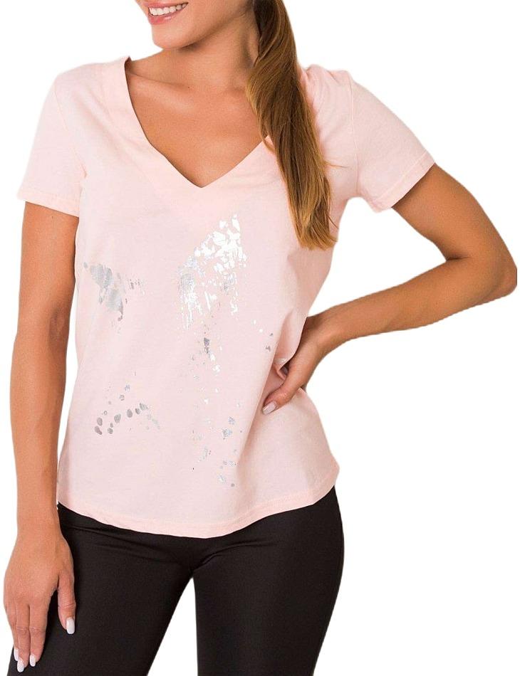 Svetlo ružové dámske tričko s mašĺou vel. M