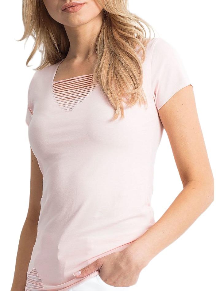 Svetlo-ružové dámske tričko s dierovaným výstrihom vel. ONE SIZE