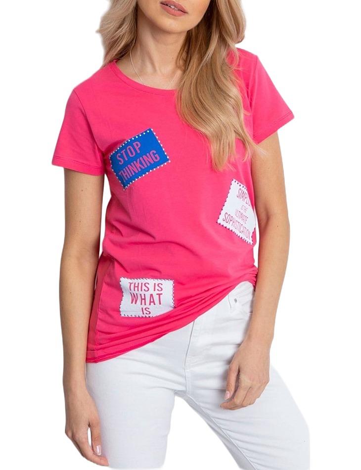 Ružové dámske tričko s nášivkami vel. ONE SIZE