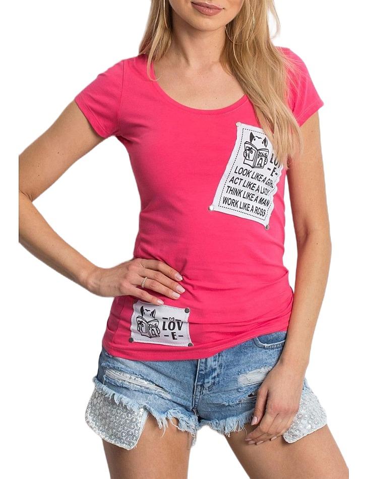 Tmavo-ružové dámske tričko s nášivkami vel. ONE SIZE