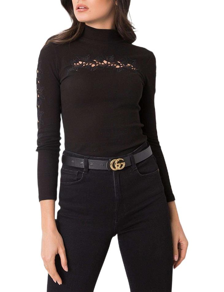 čierne dámske tričko s čipkou vel. S