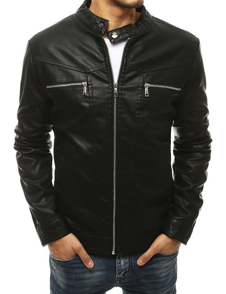 čierna pánska koženková bunda vel. XL