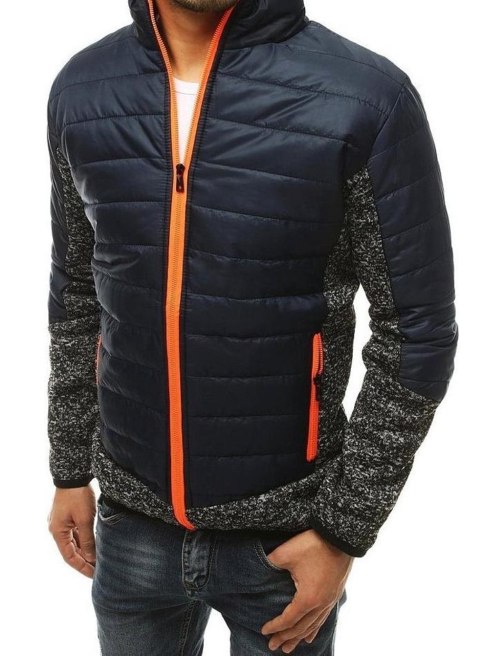 Tmavo modrá pánska prešívaná bunda s oranžovým zipsom vel. L