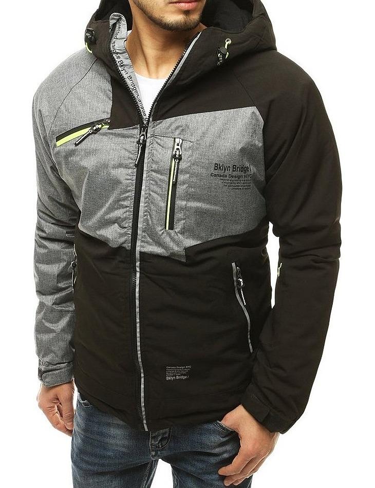 čierno-šedá pánska zimná bunda so zipsami vel. 2XL